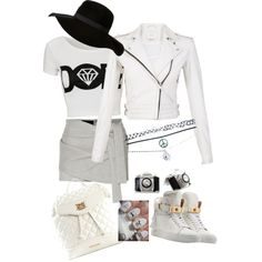 A fashion look from February 2015 featuring white shirt, leather jacket and metallic shorts. Browse and shop related looks.