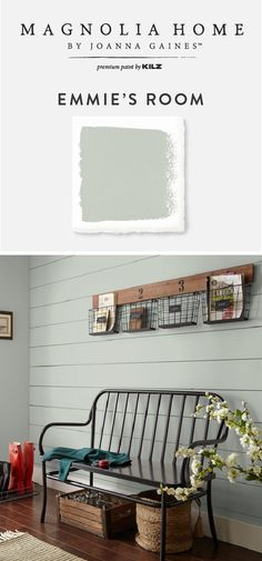 The warm blue-green hue of Emmie's Room comes alive when paired with farmhouse chic decor. A shiplap focal wall and this wood-and-metal-basket hanging organizer, add even more rustic style to this space. Check out the rest of the Magnolia Home by Joanna Gaines™ Paint collection to find a new interior paint color for your home.