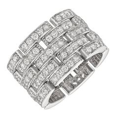 View this item and discover similar for sale at - 'Maillon Panthère' wide band ring, composed of five rows of interlocking pavé-set diamond links, in white gold, numbered signed Cartier. Wedding Rings Vintage, Vintage Rings, Sapphire Wedding Rings, Baguette Ring, Wide Band Rings, Eternity Bands, Anniversary Rings, Cartier, Diamond Cuts