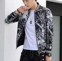 Cool geometric bomber jacket for men plus size jacket coat