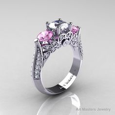 Classic 14K White Gold Three Stone White and Light by artmasters, $1399.00