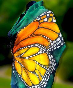 Hand painted pure silk scarf Emerald Butterfly by JoannaArtDesign