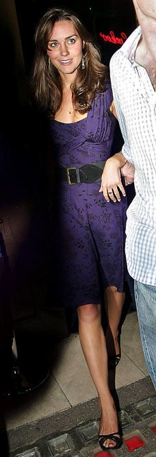 Duchess Catherine in purple Topshop dress and peep-toe pumps while clubbing with friends, July 2006