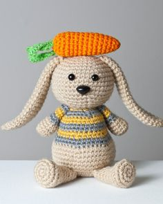 Crocheted Bunny Amigurumi Plush with Bonus Carrot by Cuddlefish Crafts.