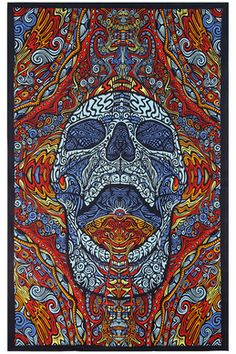 3D Mindful Skull Tapestry 60
