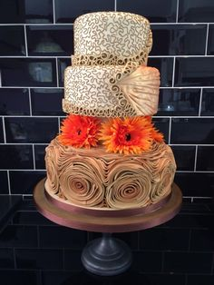 Coffee /orange wedding cake