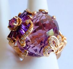 """This ring is not for the faint of heart...from the """"Mademoiselle"""" Collection, it's a one-of-a-kind ring featuring an absolutely gorgeous 29.45 carat all-natural earth-mined light purple amethyst. Stones that size and clarity aren't common enough to put this into regular production, so Bellarri only made one of these, and we have it."""