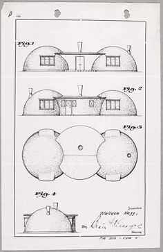 One of Wallace Neff's patent drawings for a double-bubble house. Courtesy of Jeffrey Head. monolithic dome home with a connector. Bubble Diagram Architecture, Bubble House, Monolithic Dome Homes, Vernacular Architecture, Residential Architecture, Contemporary Architecture, Architecture Design, Low Cost Housing, Quonset Hut