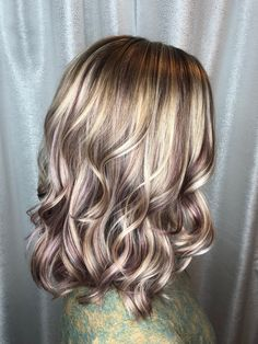 Blonde with red violet lowlights