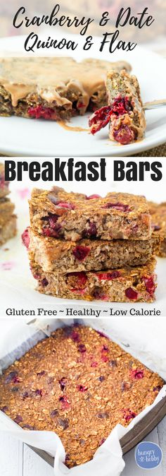 Cranberry Date Quinoa Breakfast Bars are a hearty on the go gluten free breakfast bar bursting with the sweetness of dates and warm tart cranberries in every bite.