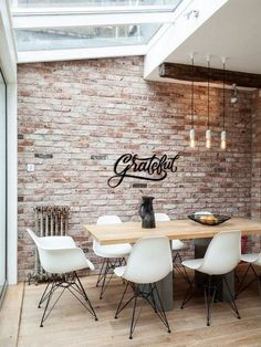 Grateful Metal Word Wall Art Home Decor Metal Letters Hanging Home Office, Office Wall Art, Brick Interior, Interior Walls, Painted Brick Walls, Metal Walls, Letter Wall Decor, Brick Wall Decor, Brick Room