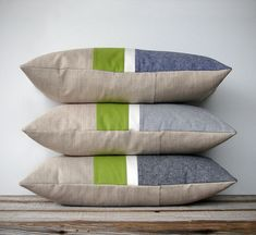 NEW MIX & MATCH SET :: This beautiful set includes (1) 12x16 colorblock pillow cover, (1) 12x20 colorblock stripe pillow cover, (1) 16x16 striped pillow cover, and (1) 20x20 colorblock stripe pillow cover. Colorblock stripes in your choice of (blue, gray or black chambray), off