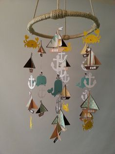 Yellow Brown Aqua Adorable Nautical Sailboat Whale and Crab Sea Ocean Baby Mobile on Etsy, $75.00