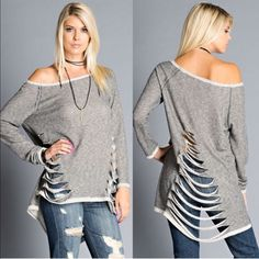 AVALON cut out long sleeve top - CHARCOAL Fun shredded look! Sure to get you notice. PRICE FIRM Bellanblue Tops Tees - Long Sleeve