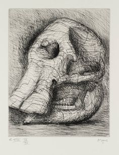 """Elephant Skull"" on display at Northwestern's Block Museum of Art Sculpture Painting, Abstract Sculpture, Henry Moore Drawings, Elephant Skull, Henry Moore Sculptures, Observational Drawing, Natural Forms, Natural Structures, A Level Art"