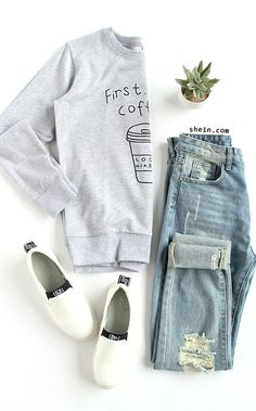 Coffee please. Casual street style outfit for fall. Grey Coffee Cup Letters Print Sweatshirt from shein.