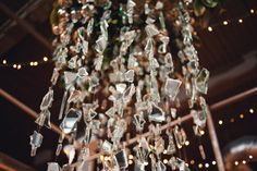 We're going to bring a little glam and glitz to your Wednesday afternoon! This awesome Knoxville wedding by Dixie Pixel Photography is full of funky, unique decor, dripping with shimmery, metallic . Broken Mirror Diy, Broken Mirror Projects, Diy Mirror, Broken Glass, Pixel Photography, Mirror Crafts, Diy Wind Chimes, Glass Chandelier, Chandeliers