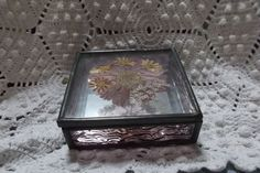 Glass Box Pressed Flower Metal Edges Amethyst and Clear Offered by Ruby Lane Shop Saltymaggie's Treasures