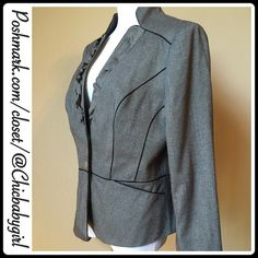 TWILL BLAZER Feminine ruffled neckline curb the military stance of this twill jacket. Nipped at the waist, decorated with eleven silver-tone buttons and charmeuse trim. Contoured panel seaming and stand collar. White House Black Market Jackets & Coats Blazers