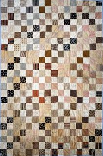 "Civil War Quilts: Four Patch blocks. 1864 Civil War Album Quilt Top, 60"" x 90"", National Museum of American History,  Kenneth E. Behring Center."