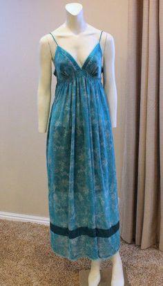 $34.99 Victoria's Secret Angels Med Teal Blue Maxi Tank Nightgown Floor Length Lingerie | eBay