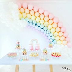 this rainbow party dessert table with its amazing rainbow balloon arch. image by LOVE LOVE! this rainbow party dessert table with its amazing rainbow balloon arch. image by Rainbow First Birthday, Girl First Birthday, Unicorn Birthday Parties, Baby Birthday, First Birthday Parties, Birthday Party Decorations, First Birthdays, Rainbow Baby, Rainbow Theme Baby Shower