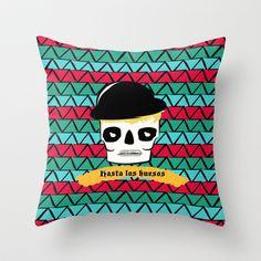 hasta los huesos Throw Pillow by annretro - $20.00