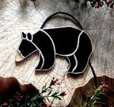 Rustic decorations black bear wildlife decor by SunDogArtAndGlass
