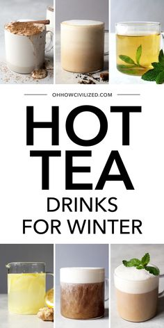 These hot tea drinks from Oh, How Civilized are perfect for a cool winter's day. From Ginger tea to Matcha hot chocolate, you are sure to find a hot tea drink you will love. This list of delicious hot teas is complete with easy to follow recipes for each delicious drink. #hottea #teadrink #tearecipe #teatime #wintertearecipes Tea Drinks, Yummy Drinks, Healthy Drinks, Beverages, Hot Teas, Milk Tea Recipes, Coffee With Alcohol, Matcha Drink, English Breakfast Tea