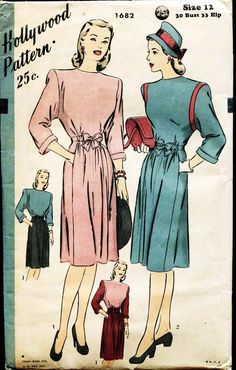Vintage Dress Pattern Hollywood 1682 1940sTwo Piece Day Dress Unused Pattern. $16,00, via Etsy.