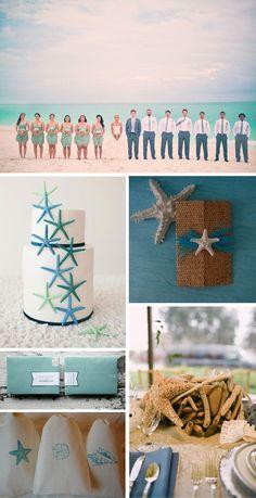 Starfish beach wedding decorations. #OBX #OBXweddingwednesday