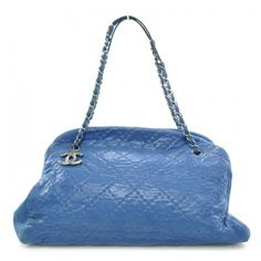4f402af155a4 This is an authentic CHANEL Calfskin Large Just Mademoiselle in Blue. This  is a sophisticated shoulder bag and has all of the quality and style you  have ...