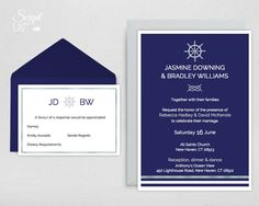 Modern Nautical Wedding Invitation Template, with Response Card | INSTANT Download | Navy Blue and Silver | Word or Pages | PC & Mac by ScriptAndLily on Etsy