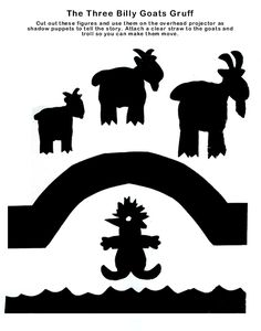 Three Billy Goats Gruff shadow puppets, link has lots of story puppets Fairy Tale Crafts, Fairy Tale Theme, Troll, Fairy Tales Unit, Billy Goats Gruff, Flannel Board Stories, Shadow Theatre, Traditional Tales, Album Jeunesse