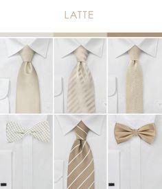 Wedding Color Inspiration for Latte  |  Groomsmen Accessories in Latte + Neutrals #necktie #wedding