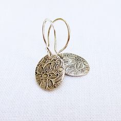 Small Silver Floral Earrings  PMC Fine Silver by BeadinByTheSea, $25.00
