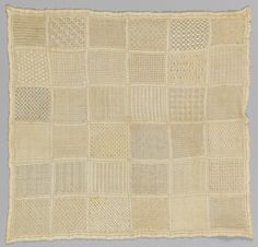 """Thirty six patterns worked in embroidery and drawnwork.    This sampler is medium: silk embroidery on linen foundation technique: satin, darning, eyelet, overcastting and drawnwork on plain weave. Its dimensions are: H x W: 33 x 32 cm (13 x 12 5/8 in.).    This sampler is from Mexico and dated """"18th century""""."""