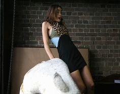 Model, Bambi (Priscillas) wearing Ksubi
