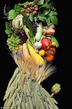 A harvest festival: A modern take on Summer with actual fruits and vegetables which was originally painted by Giuseppe Arcimboldo in 1573