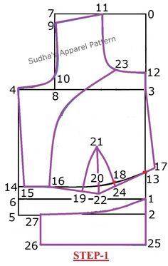 """In this article, I have explained detailed pattern making of a Single Katori / One Piece Katori blouse with sleeve. The Katori blouse is designed based on the natural bust shape of women. The word """"Katori"""" derived from Hindi language means """"Cup"""". Dress Sewing Patterns, Sewing Patterns Free, Clothing Patterns, Blouse Patterns, Blouse Designs, Embroidery Patterns, Pattern Drafting Tutorials, Sewing Tutorials, Sewing Tips"""