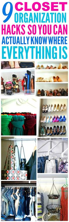 These 9 Closet Organization Hacks are THE BEST! I'm so glad I found these AMAZING tips! Now I have some great ways to clean and organize my small closet and find everything! Definitely pinning!