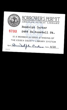 Arkham Public Library Card- Courtesy of HPLHS