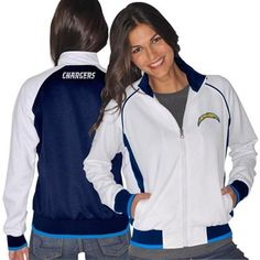 Love this!!!!!!! San Diego Chargers Ladies Sprint Full Zip Track Jacket - White/Navy Blue