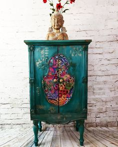 Turquoise Furniture, Funky Painted Furniture, Bohemian Furniture, Eclectic Furniture, Decoupage Furniture, Recycled Furniture, Refurbished Furniture, Art Furniture, Furniture Projects