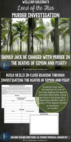 Is Jack Merridew guilty of first degree murder or is he an accessory in the deaths of Simon and Piggy? Build skills in close reading and argumentative writing in order to figure out the answer.