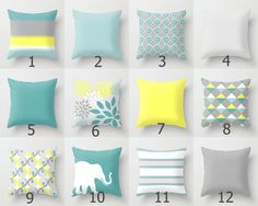 Throw Pillow Teal Yellow Grey READ DESCRIPTION by HLBhomedesigns