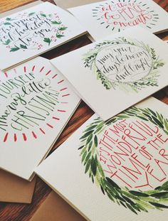 Christmas Cards HandLettered and Painted Set of 10 by joliemade