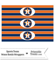 Houston Astros Water Bottle Wrappers From PrintableTreats Baseball Birthday Party 8th