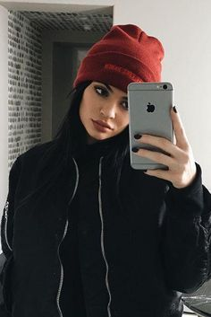 Kylie Jenner wearing Kanye West I Feel Like Pablo Beanie