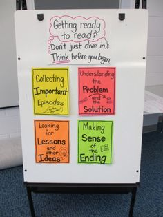 Chart Chums Q & A:  (1.) This second grade reading chart was created using fluorescent colored copy paper that was turned into sticky notes using a repositionable glue stick.